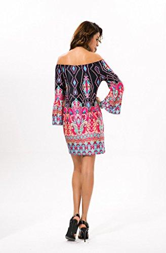 GWELL Morden Damen Schulterfrei Drucken Blumen Bodycon Etuikleid Partykleid Sommer Kleid Strand Kleid Muster-B 7AvEL4kE6