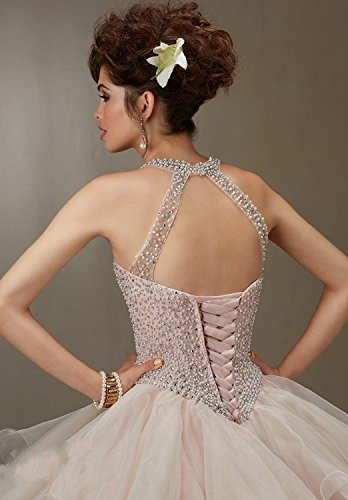Ballkleider Halter Dresses Lang Sweet Beaded Abendkleider Kleider Quinceanera Fanciest 16 Champagne Ball Champagne gFqxT0