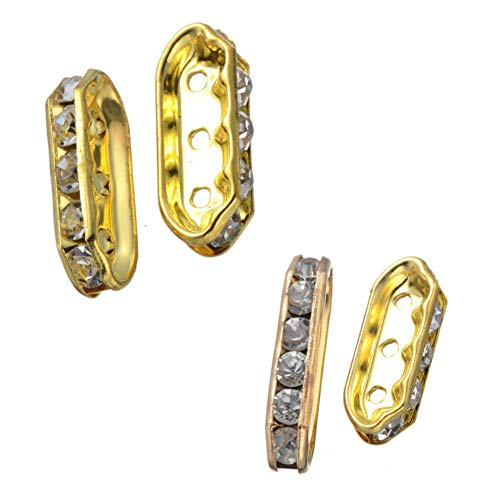 (AKOAK 50 Pack 21.4mm x 7mm Gold Plated Rhinestone Metal Spacer Beads 3-Hole Spacer Bars for Jewelry Findings DIY Multilayer Bracelet)