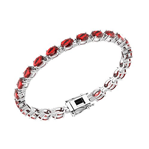 Solid Sterling Silver 6x4mm Oval Shape Gemstone Birthstone Tennis Bracelets Available in Many Colors, 7.25 Inch Length