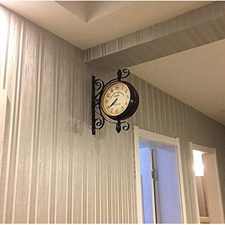HMM Reloj de Pared de Doble Cara Europeo Retro Interior Exterior Simple Hierro Forjado Estación de jardín Soporte Relojes Colgantes de jardín: Amazon.es: Hogar