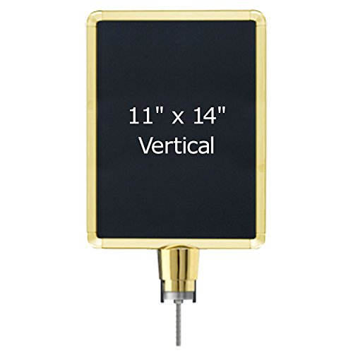 Lavi-Industries-Sign-Frame-for-Post-and-Rope-Stanchions-Slotted-11-x-14-Gold