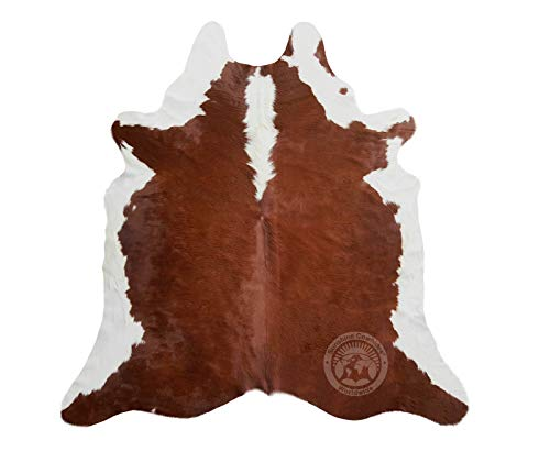 Hereford Brown and White Cowhide Rug Large 5ft x 7ft 150cm x 210cm Brazilian