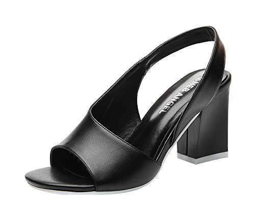 T&Mates Women's Trendy Slingback Peep-Toe Block Middle Heel Pure Color Sandals