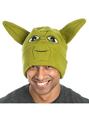 [Disney Star Wars Yoda Cuffed Beanie with Green Ears Knitted Winter Adult Hat] (Yoda Costumes For Adults)