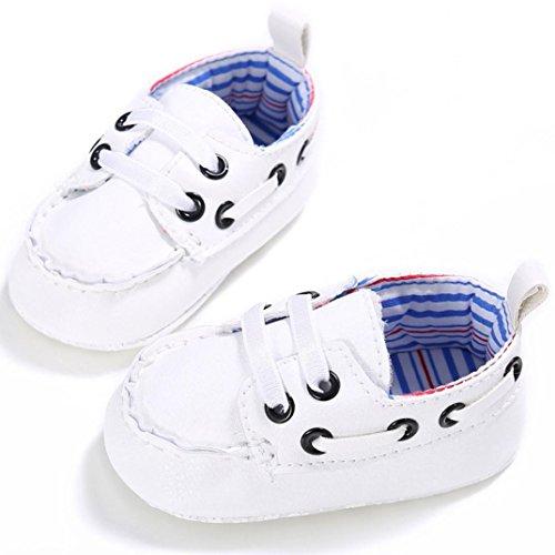 Sandalias para bebés, RETUROM Nuevo diseño cuna suave único zapato de cuero para bebé niño niña Blanco