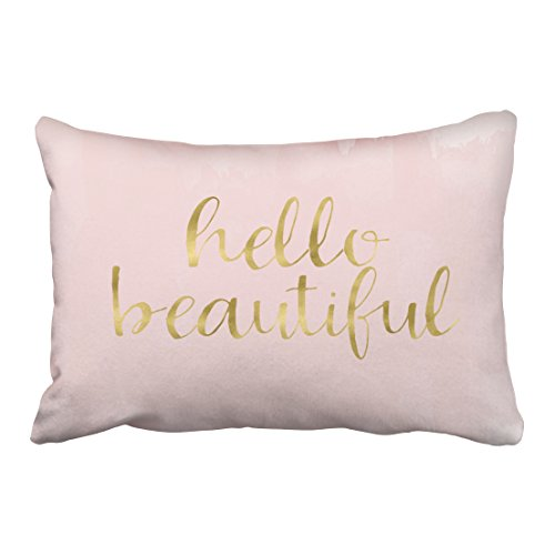 Emvency Decorative Throw Pillow Cover Queen Size 20x30 Inches Pink Gold Watercolor Hello Beautiful Pillowcase With Hidden Zipper Decor Cushion Gift For Holiday Sofa ()