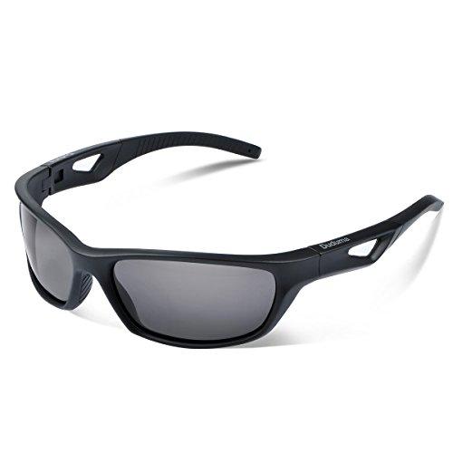 Duduma Polarized Sport Mens Sunglasses for Baseball Fishing Golf Running Cycling with Fashion Women Sunglasses and Men Sunglasses Tr80821 Flexible Superlight Frame (Matte Black Frame, Black Lens) by Duduma