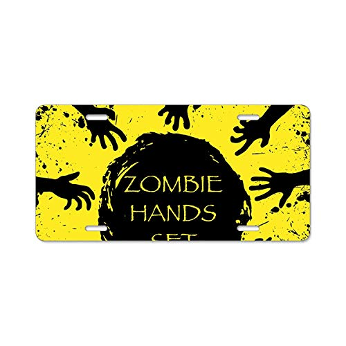 YEX Abstract Zombie Halloween hands4 License Plate Frame Car Licence Plate Covers Auto Tag Holder 6