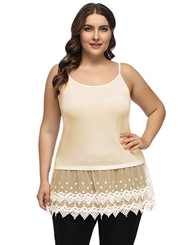 (Women's Plus Size Loose Summer Casual Pleated Flowy Tank Top with Lace Trim Extender Nude 18W)