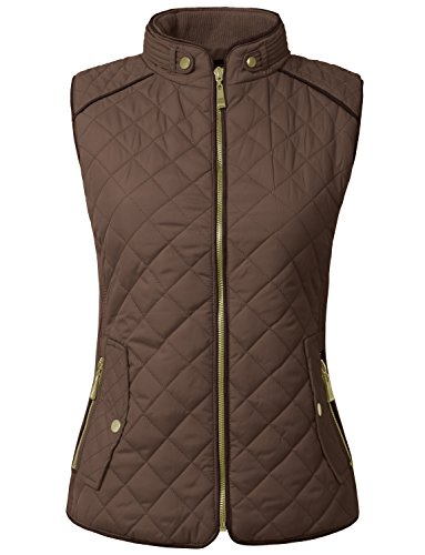 NE PEOPLE Womens Lightweight Quilted Zip Vest, XLarge, NEWV40BROWN