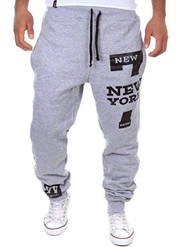 Casual Baggy Hiphop Dance Jogger Sweatpants Trousers Light Grey Large ()