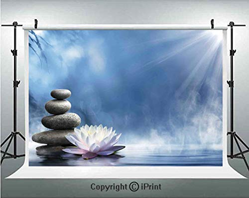 Spa Decor Photography Backdrops Purity of The Zen Massage Magic Lily Stones Sunbeams Spirituality Serenity,Birthday Party Background Customized Microfiber Photo Studio Props,10x6.5ft,