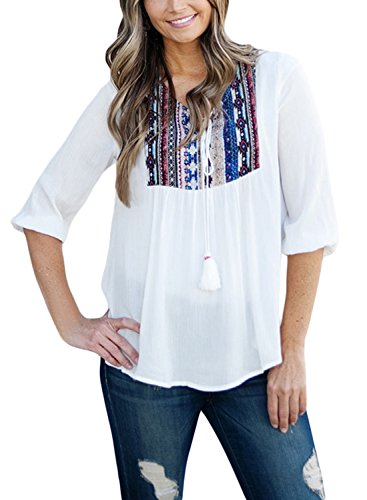 Neck Peasant Blouse (LOSRLY Women Floral Embroidered 3 4 Sleeve String Neck Peasant Blouse and Tops-White S 4 6)