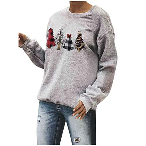 QIQIU Christmas Tops Womens Xmas Trees Print O-Neck Pullover Solid Casual Party Daily Long Sleeve Blouses Sweatshirt Grey (Burnt Christmas Tree Down)