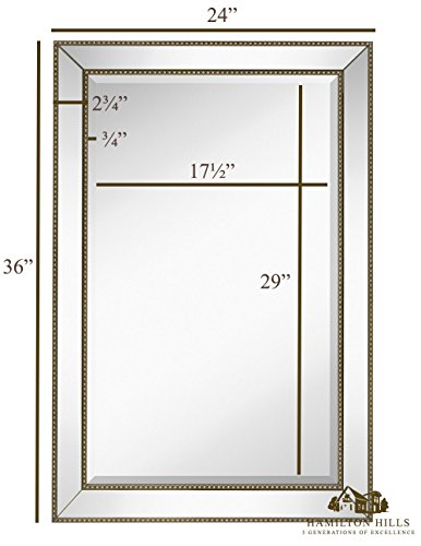 Large Framed Wall Mirror with Angled Beveled Mirror Frame and Beaded Accents Premium Silver Backed Glass Panel Vanity, Bedroom, or Bathroom Mirrored Rectangle Horizontal or Vertical 24 x36