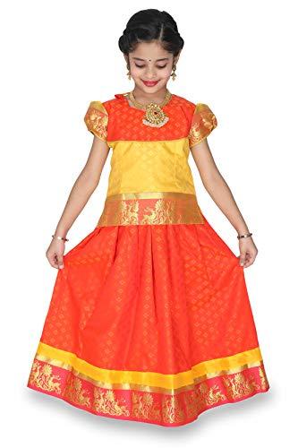 - kaatru Girls Pavadai Set D5 - Lehenga Choli - Buffon Sleeve (Rexona & Orange) (1-2 Y)