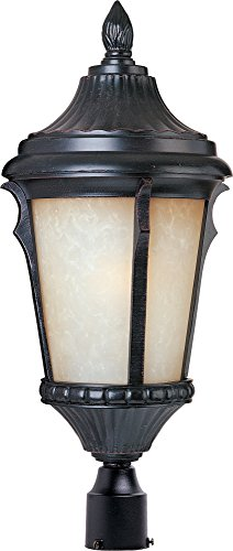 (Maxim 3010LTES Odessa Cast 1-Light Outdoor Pole/Post Lantern, Espresso Finish, Latte Glass, MB Incandescent Incandescent Bulb , 50W Max., Dry Safety Rating, 2900K Color Temp, Standard Dimmable, Glass Shade Material, 6500 Rated Lumens)