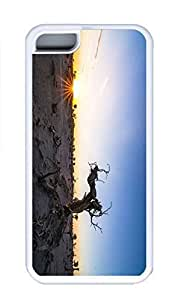 iPhone 5C Case, Personalized Custom Rubber TPU White Case for iphone 5C - Sunset Tree Cover