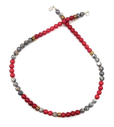Tifleeo Gemstone Silver Crazy Lace Agate Red Glass Brass Disk 8mm Necklace