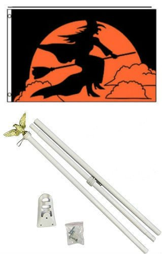 MWS 3x5 Happy Halloween Witch Flag White Pole Kit Set 3'x5'