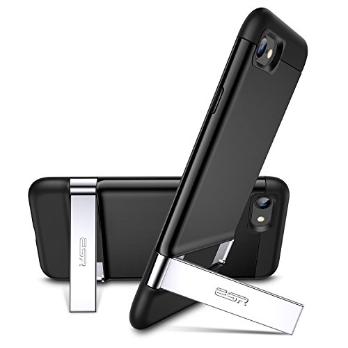 ESR iPhone 8 Case, iPhone 7 Case, Metal Kickstand Case [Vertical and Horizontal Stand] [Reinforced Drop Protection] Hard PC Back with Flexible TPU Bumper for iPhone 8(2017)/iPhone 7(2016)(Black) - Kickstand Case