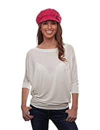 Crystal Case Women's Glitter Sequin Trim Newsboy Style Relaxed Fit Hat Cap