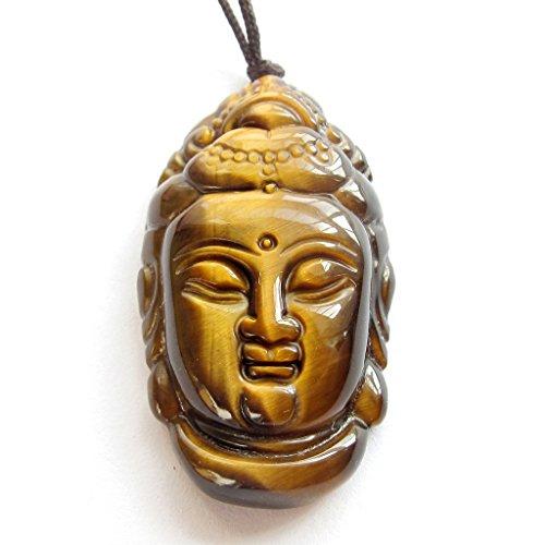 - Tiger Eye Exquisite Tibetan Buddhsit Mercy Kwan-yin Buddha Head Amulet Pendant