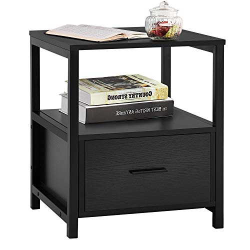 VECELO Modern Nightstand with Drawer Square End, Side Table for Bedroom, Living Room, Small Space, Night Stand with Open…