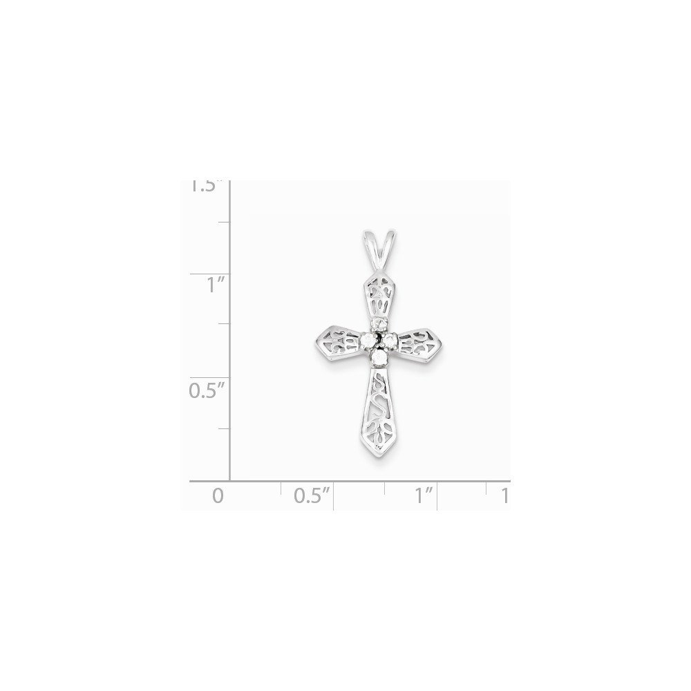 Sterling Silver CZ Passion Cross Pendant 1.14 in x 0.63 in