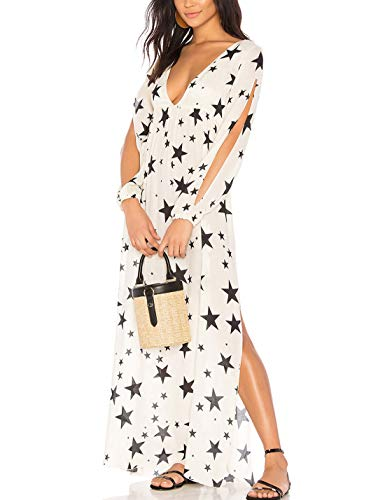 (Ailunsnika Rayon Star Print Sexy Deep V Neck Long Beach Dress Side Slit Long Sleeve Cover Up Turkish Caftan)