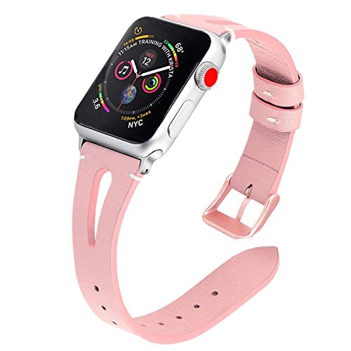TUJUIO Leather Bands Compatible Apple Watch,38mm/40mm 42mm/44mm Slim Strap with Breathable Hole Replacement Wristband for iWatch Series 4/3/2/1 Nike+ Edition (Pink, 38mm/40mm)