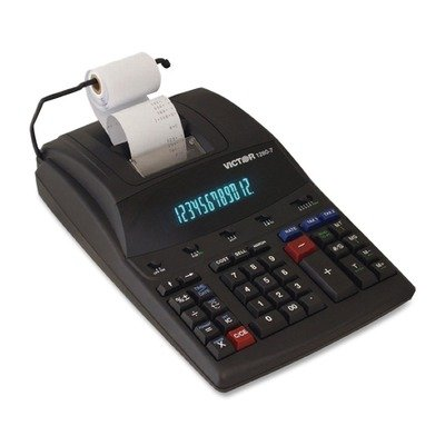 12-Digit Calculator,2-Print/Display,8-1/2 quot;x12-1/4 quot;x3 quot;,White by Victor®