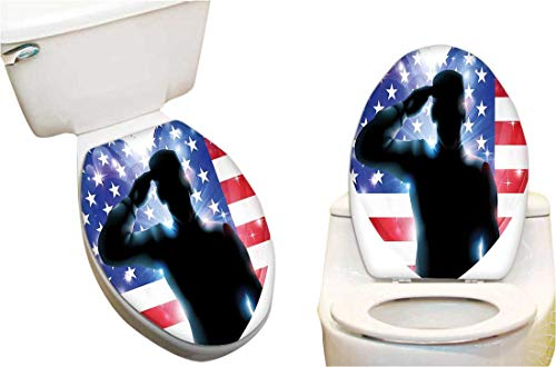 Waterproof Toilet Seat Sticker Funny French Bulldog with Sunglasses in American Costume Hiding Graphic Art Toilet Stickers Restroom Art Stickers 11