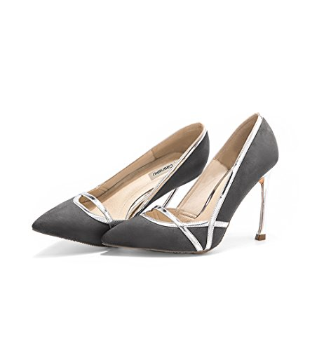 Feminine Vintage Pointed-Toe High Heels Sexy Suede Material Bridesmaid Shoes Elegant 10cm Wedding Shoes Comfortable Shallow Mouth Shoes (Color : Gray, Size : 41)