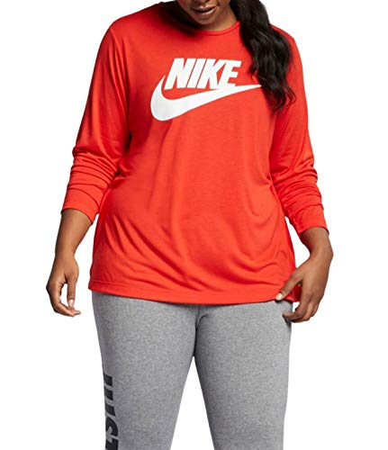 Nike Women's Plus Size Logo Print Long Sleeve Athletic T-Shirt (Habanero Red/White, 3X)