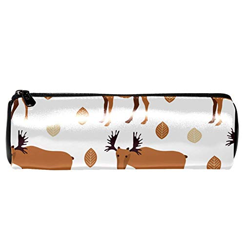 - Anmarco Mooses and Leaves Leather Pen Pencil Case Coin Purse Pouch Cosmetic Makeup Bag for School Work Office