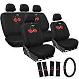 Motorup America Embroidered Red Wild Cherry Auto Seat Cover Full Set