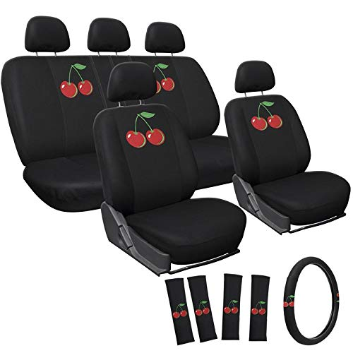 Motorup America Embroidered Red Wild Cherry Auto Seat Cover Full Set by Motorup America