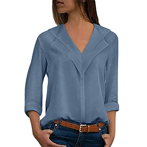 HIRIRI Womens Roll Sleeve Blouse Chiffon Solid V Neck T-Shirt Long Sleeve Office Ladies Plain Tops Sky Blue