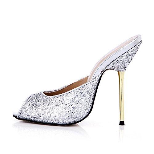 talon à banquet d'argent Silver Sandales femmes femme astuce haut chaussures poisson chaussures grandes qnpfUHBn
