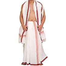 JISB White Cotton Dhoti with Angavastram For Men (Size:9x5)