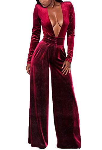 Women's Casual Long Sleeve High Waisted Pants One Piece Cocktail Jumpsuits Body Chain Evening Party Outfits for $<!--$25.99-->
