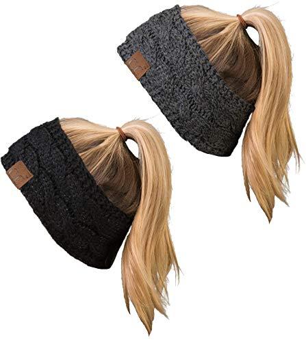HW-6033-2-20a-900621 Headwrap Bundle - 1 Metallic Black, 1 Metallic Charcoal (2 Pack)