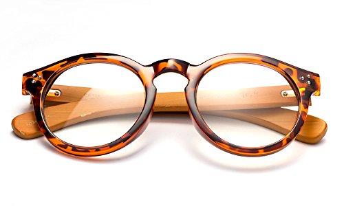 Newbee Fashion - Peak Bamboo Round Modern Design Fashion Clear Lens Glasses Tortoise/Dark Bamboo