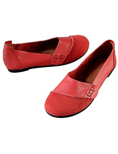 Zoulee Kvinna Rund Tå Läderlägenheter Skor Lata Skor Stil 3 Röd