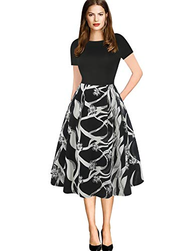 oxiuly Women's Vintage Elegant Scoope Neck Contrast Casual Work Party Swing Midi Dress with Pockets OX165 (S, Black Wave PT)