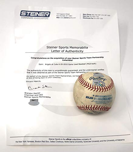 Angels Baseball Memorabilia - Chicago Cubs 6/20/10 Vs Los Angeles Angels Game Used MLB Baseball (Actually Used In This MLB Game) Steiner Sports Certified
