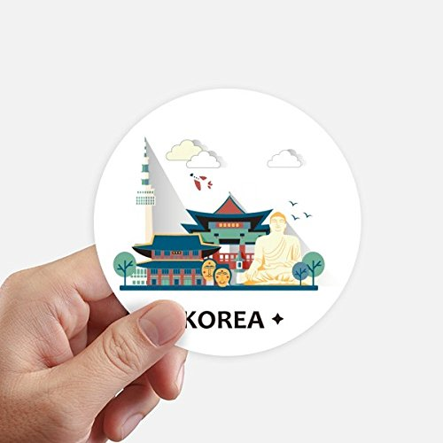 - DIYthinker Tourist Attractions in Seoul Korea Round Stickers 10cm Wall Suitcase Laptop Motobike Decal 8pcs