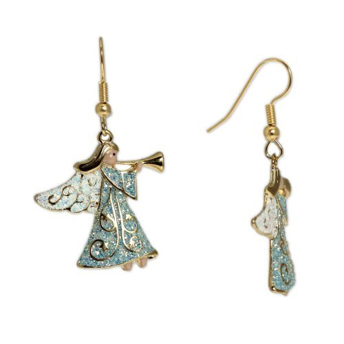 Glittery Winter Ice Blue Cloaked Angel Blowing Trumpet Earrings in Gold Tone, Holidays, Christmas by Autumn's Glory